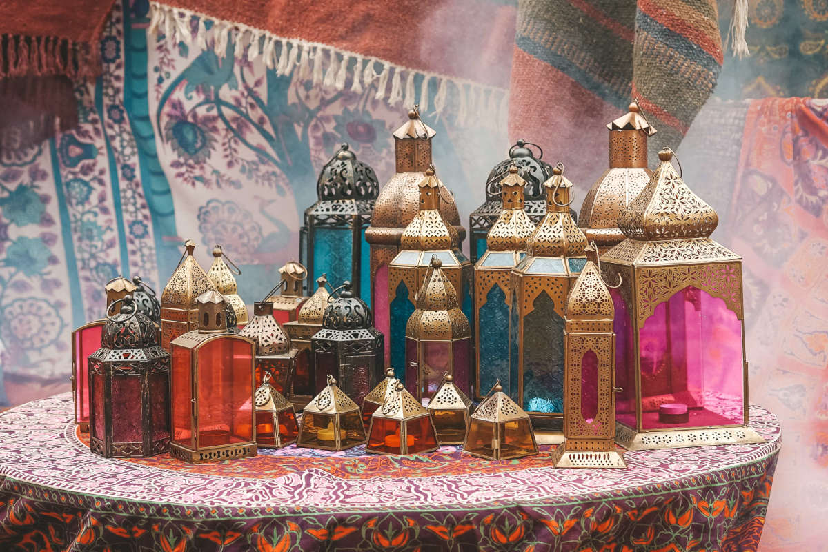 Moroccan lanterns on table