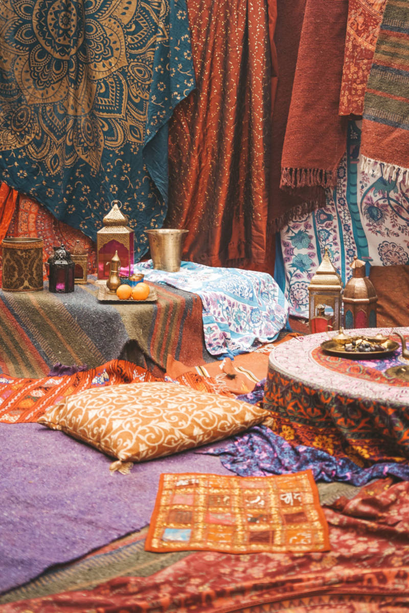 Moroccan furnishings in tent